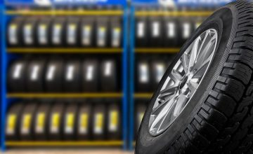 Tyre showing for sell or fix in the shop